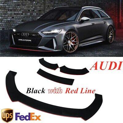 For AUDI A5 A8 Q3 Q5 Q7 RS5 S3 TT BLACK & RED Front Lip Bumper Spoiler Splitter