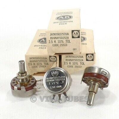 Nos Nib Vintage Lot Of 3 Allen-bradley Type J Potentiometers 2.5k Ohm