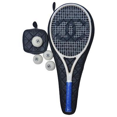 CHANEL Tennis Racket Ivory/Blue Full Set NEW