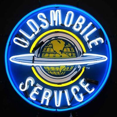 Oldsmobile w/ backing Neon sign Olds Globe Rocket 88 Service Garage Marquee moto