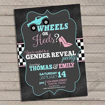 10 Wheels or Heels Gender Reveal Invitations / Baby Shower Printed](Gender Reveal Baby Shower Invitations)