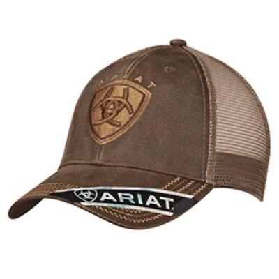 Ariat Western Mens Hat Baseball Cap Mesh Logo One Size Brown 1515602 Brown Mens Hat