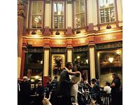 Part time bubbly staff wanted for busy city pub in iconic Leadenhall Market - no Sunday's