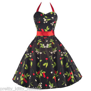 PRETTY-KITTY-VINTAGE-RED-CHERRY-PROM-50s-ROCKABILLY-SWING-COCKTAIL-DRESS-8-18