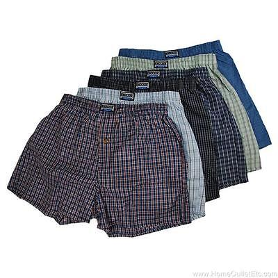 Plaid Woven Shorts (6 Pairs Mens Knocker Assorted Plaid Woven Boxer Shorts Premium Underpants Trunks)