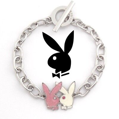 Platinum Plated Charm - Playboy Bracelet Kissing Bunny Charm Pink Silver Platinum Plated Toggle NEW NWT