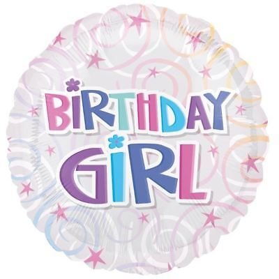 Birthday Girl Swirls Foil Ballon 45cm Pink Blue Party Decorations - Black Ballons