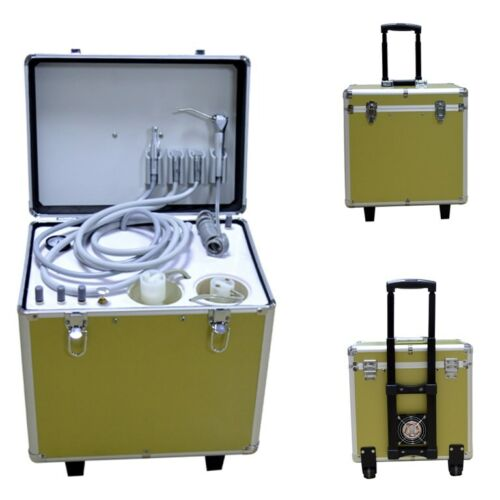 Dental Portable Delivery Unit with Oiless Air Compressor 3-Way Syringe 4 Hole US