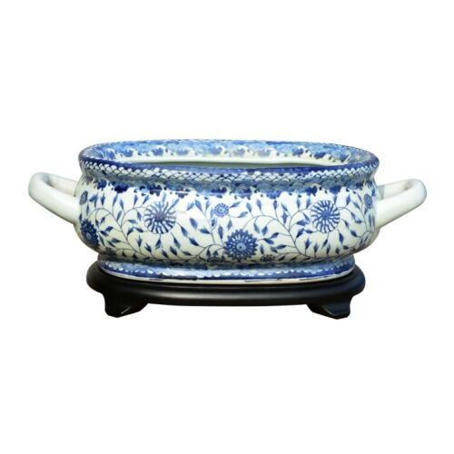Unique Blue & White Porcelain Foot Bath Basin Chinese Floral Motif with Base
