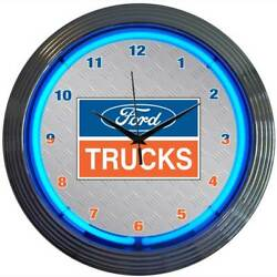 F150 F250 F350 F450 F550 Ford Trucks Silver & Chrome Wall Clock with Blue Lights
