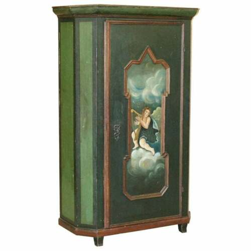 CIRCA 1800 HAND PAINTED GREEN SWEDISH HALL OR POT CUPBOARD WARDROBE MUSICAL DECO