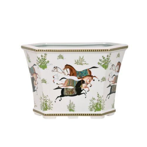 Oriental Horse Motif Floral Porcelain Hexagonal Pot Cachepot