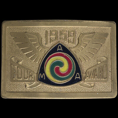 AMA Gypsy Tour 1959 Rally Indian Harley Motorcycle Antique Vintage Belt Buckle