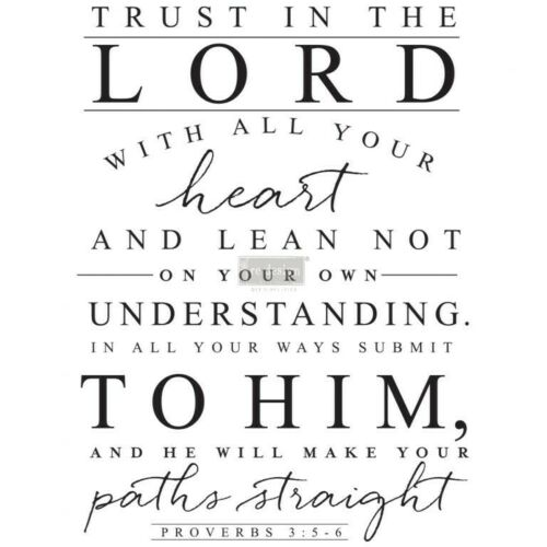 REDESIGN DECOR TRANSFERS® – TRUST IN THE LORD – 3 SHEETS, DESIGN SIZE 22″ X 30″