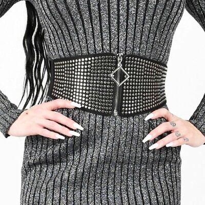 breiter Nietengürtel schwarz Stretch Taillen Gurt Gothic black belt