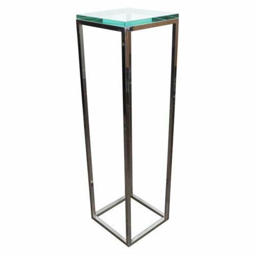 Tall Square Polished Chrome Pedestal by Milo Baughman