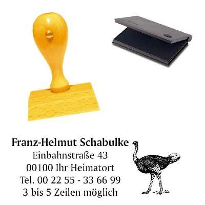 Adressenstempel « STRAUSS » mit Kissen - Firmenstempel - Vogel Zoo Ornithologe