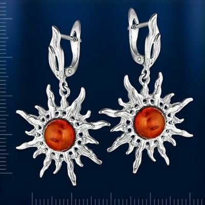 Sonnenschein Ohrringe (Russische Silber 925° Ohrringe Ohrhänger mit Bernstein Sonnenschein Neu Glänzend)