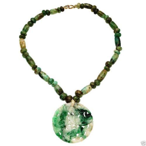 Jade033 Estate jade beads necklace with carved jadeite jade pendant