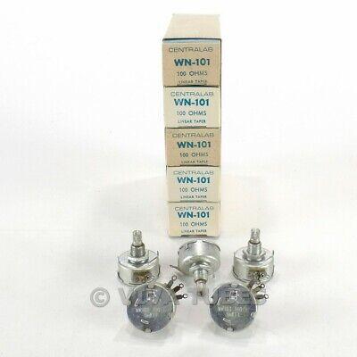 Nos Nib Vintage Lot Of 5 Centralab Wn-101 Potentiometers 5w 100 Ohm