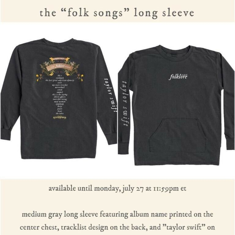 Taylor Swift XL Folklore Tracklist Shirt Long Sleeve