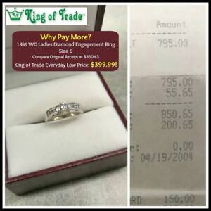 Lady's Diamond White Gold Engagement Ring - King of Trade