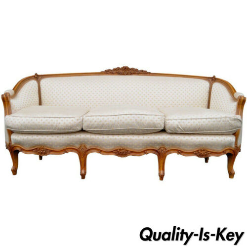 French Country or Louis XV Style Finely Carved Walnut Sofa or Canape, circa 1920