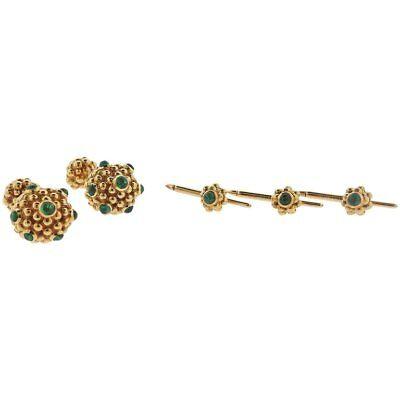 Emerald Stud Cufflinks - Tiffany & Co. Emerald Gold Cufflinks Stud Dress Set
