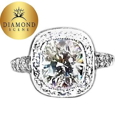 GIA CERTIFIED G COLOR VS1 CLARITY GRADE CUSHION SHAPE HALO ROUND ENGAGEMENT RING