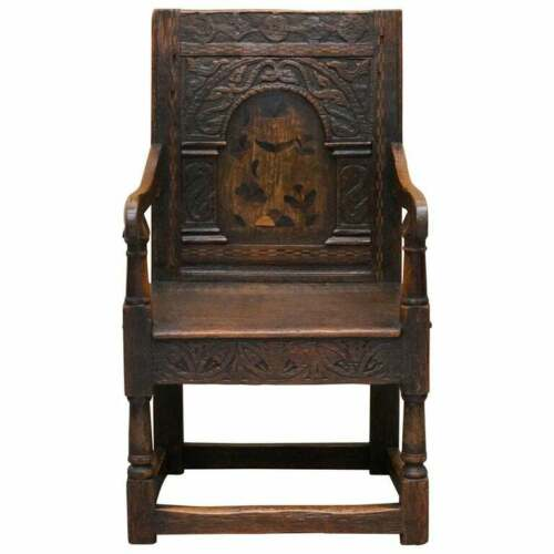 17TH CENTURY CHARLES I ENGLISH OAK WAINSCOT ARMCHAIR PRIMATE DESIGN HAND CARVED
