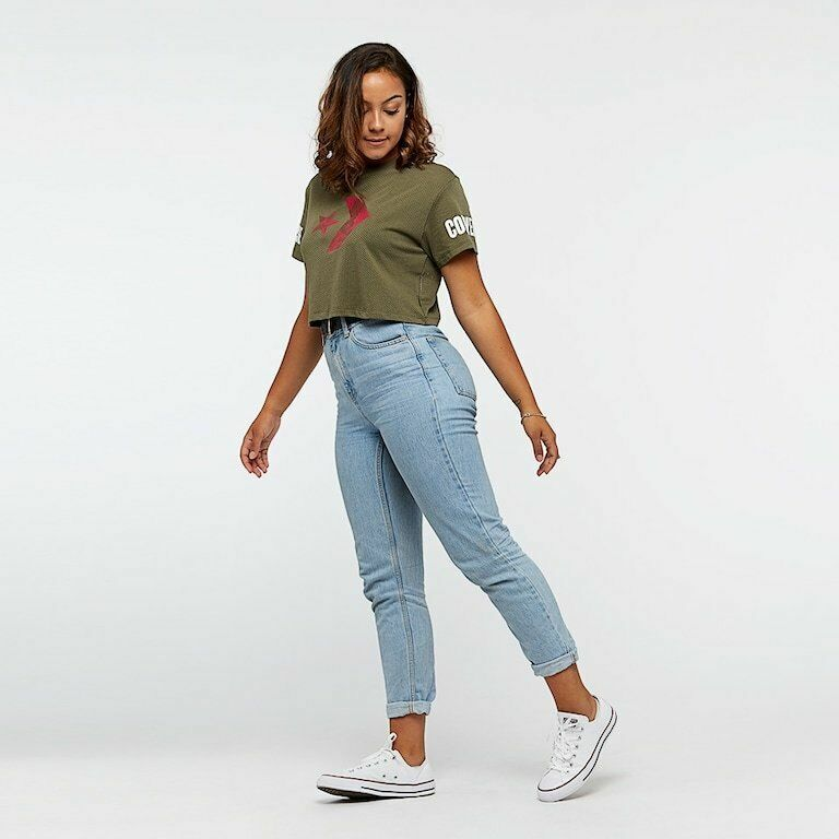 5117196c1eb0 Womens Converse Floral Fill Star Chevron Mesh Easy Crop T-Shirt ...