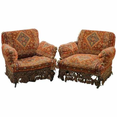 PAIR OF VERY RARE REGENCY CIRCA 1810-1820 TURKEY WORK ARMCHAIRS PART OF A SUITE