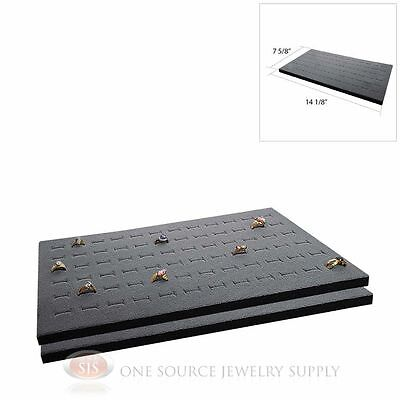 2 Gray Ring Display Pads Holds 72 Slot Rings Tray Or Case Jewelry Insert