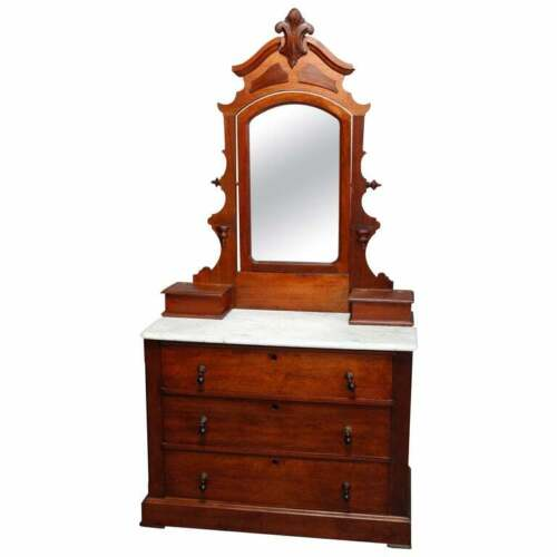Antique Victorian Carved Walnut Marble-Top Mirrored Dresser, circa 1890
