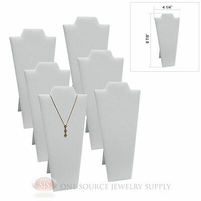 6 White Velvet 8 78 Padded Pendant Necklace Display Easel Neckform Stand