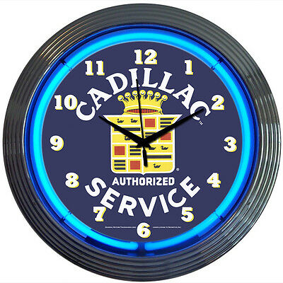 Cadillac Crest Service Auto Car Neon Sign Art Clock GM 1959 Authorized Service