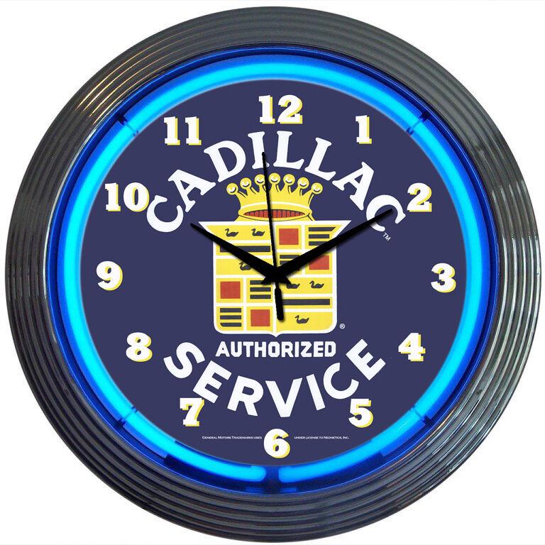 Cadillac Crest Service Auto Car Neon Sign Art Clock GM 1959 Authorized Service