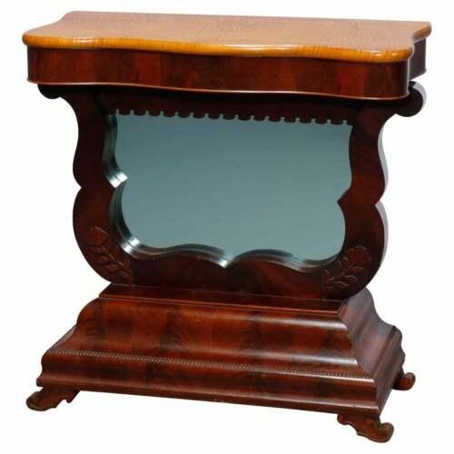 Antique American Empire Flame Mahogany Meeks School Pier Table, Circa 1840