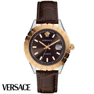 Versace VZI020017 Hellenyium Automatic rose gold brown Leather Men's Watch NEW