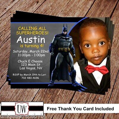Batman Superhero Birthday Invitation Printable Photo Super Hero Party DIY Batman](Batman Photo Invitations)