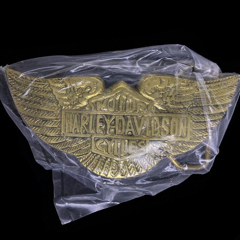 Harley Davidson Wings Bar Shield Biker Gift Brass 70s NOS Vintage Belt Buckle