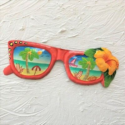 "OUTDOOR HAITIAN METAL 8"" SUNGLASSES BEACH SCENE YELW FLOWER TIKI WALL ART DECOR"