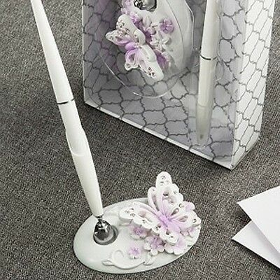Butterfly Design Pen Set - NEW - Wedding accessory - White and Lilac