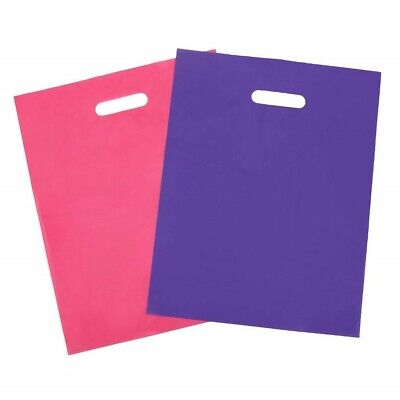100 Plastic Merchandise Shopping Bags Pink Purple Handle Gift Retail Party 12x15