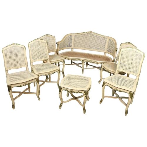 18th Century Italian Antique Louis XV Lacquered Living Room Sets Seven Pieces