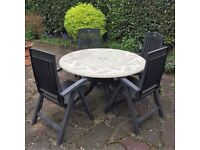 Hard wearing Outdoor Mosaic Pattern Dining Table and Chairs with detachable cushions