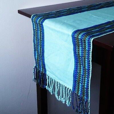 Light Blue table runner, handmade in Guatemala, Mayan, stripe pattern, cotton, - Light Blue Runner