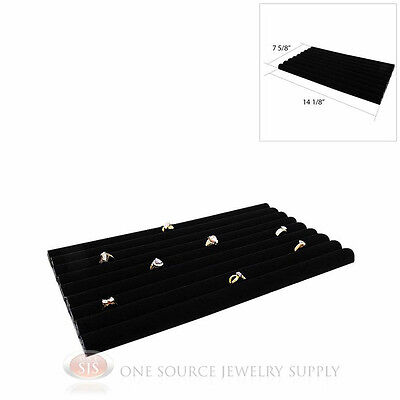 (1) Black Velvet Continuous Row Slot Jewelry Ring Display Countertop Rings