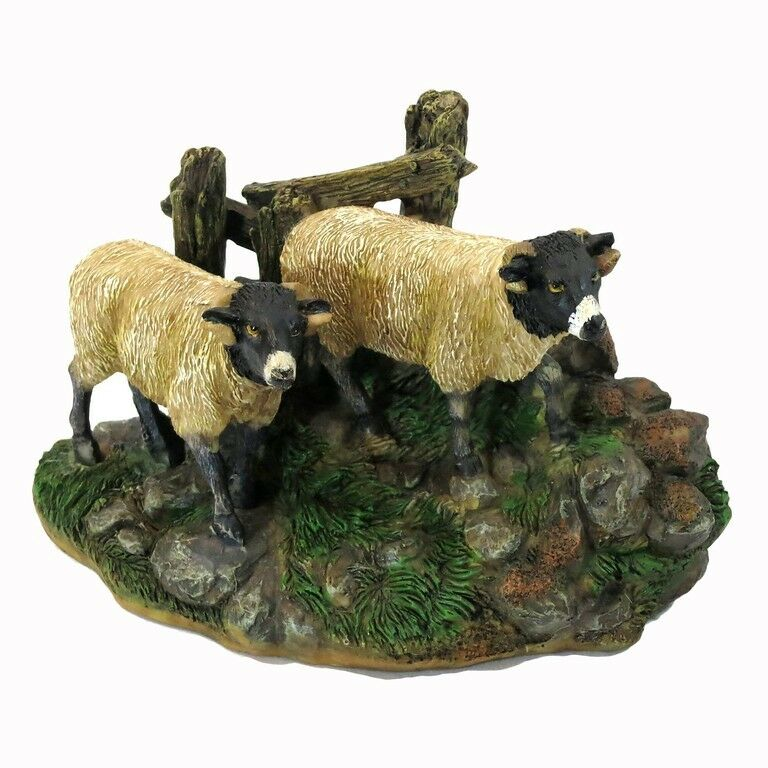 Dalesbred Breed Black White Sheep Pair Figurine Sculpture New