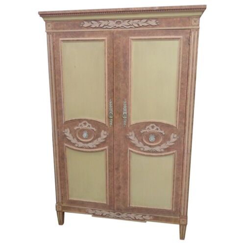 Gorgeous Baker Paint Decorated Carved French Country Louis XV Armoire C1960s
